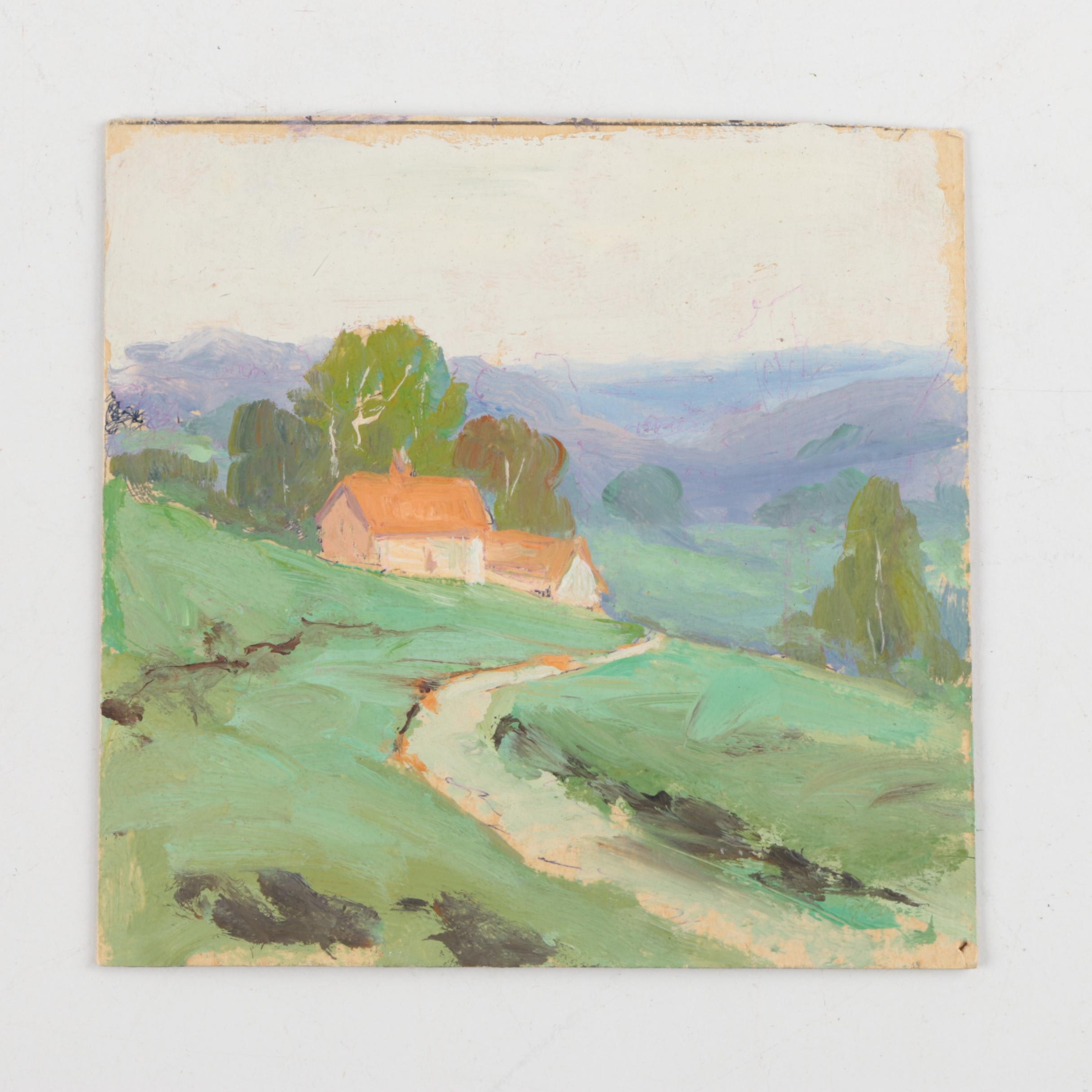 Attributed to William A. Eyden Jr. Landscape Painting on Board