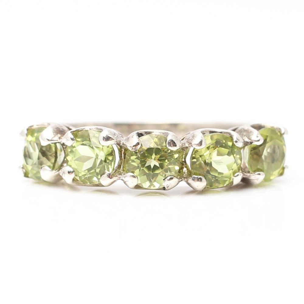 Sterling Silver Five-Stone Peridot Ring