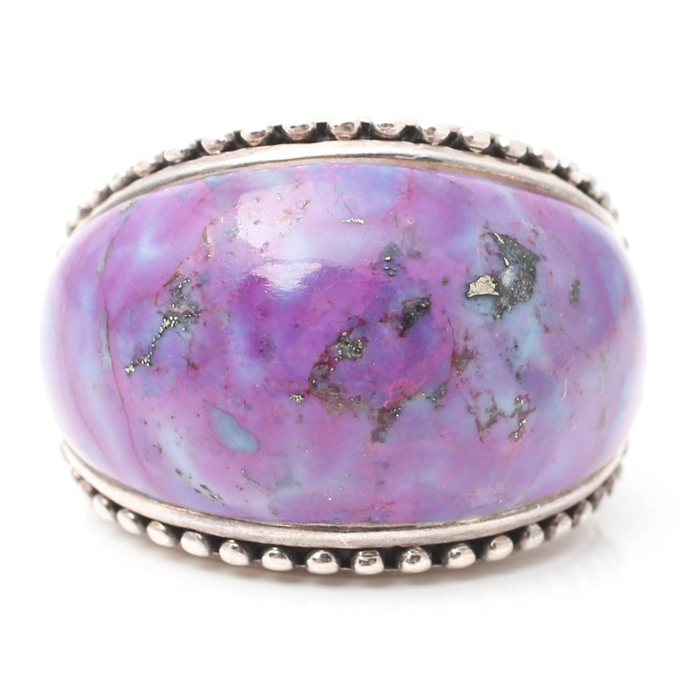 Sterling Silver Purple Turquoise Saddle Ring