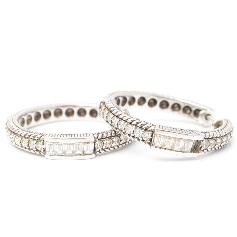 Judith Ripka Sterling Silver Cubic Zirconia Hoop Earrings