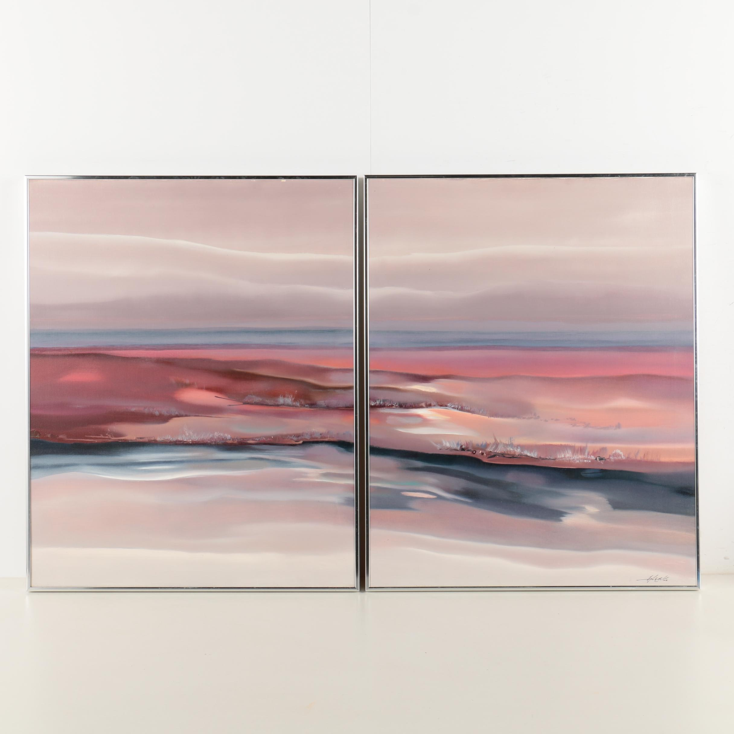 Oil Painting on Canvas Diptych of Seashore