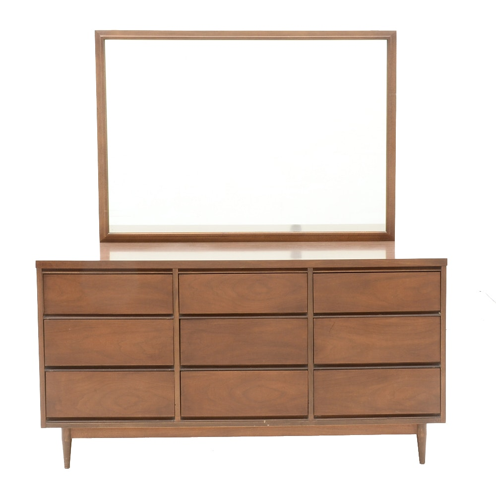 Mid Century Modern Chest of Drawers with Mirror
