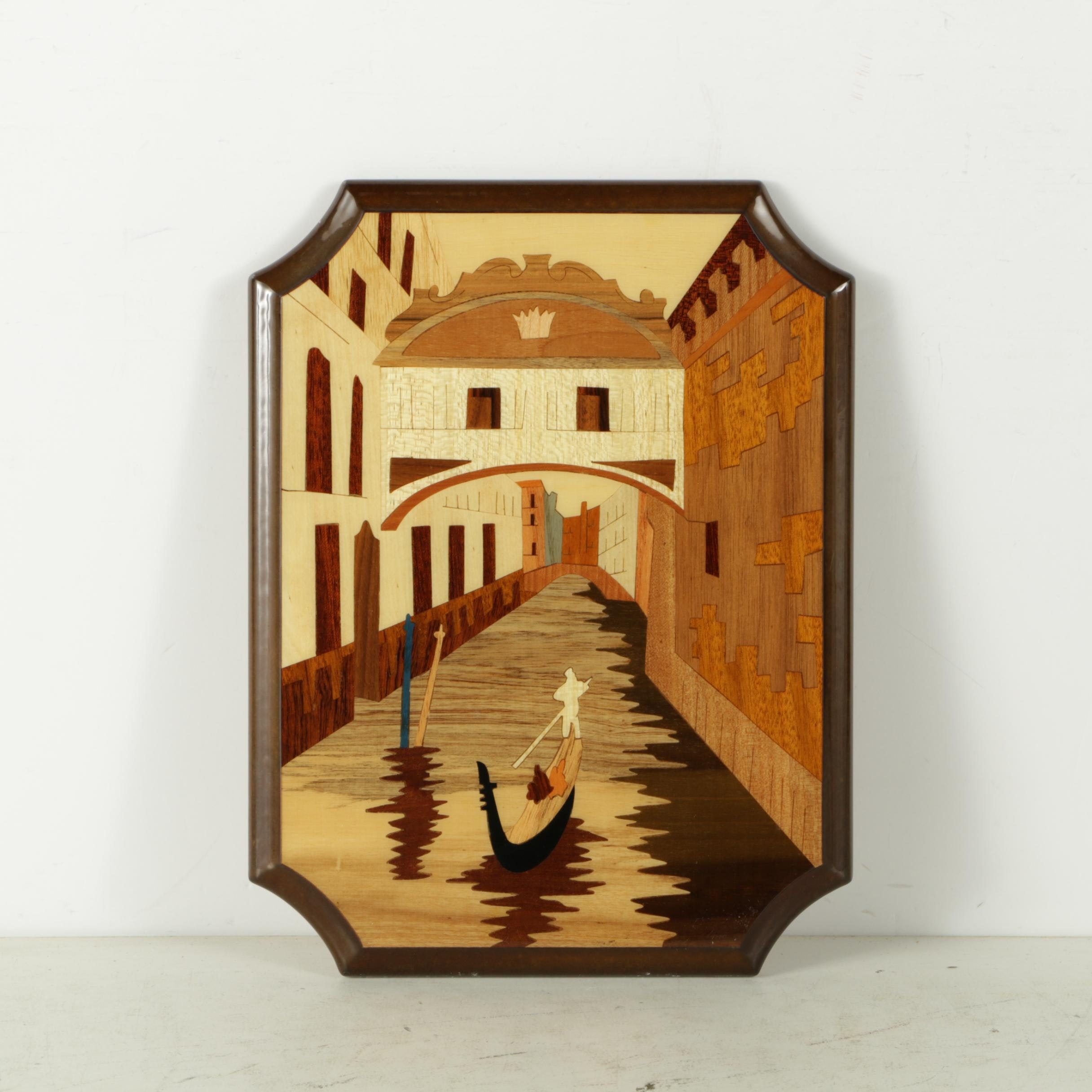 Stained Wood Collage of Gondola on a Canal
