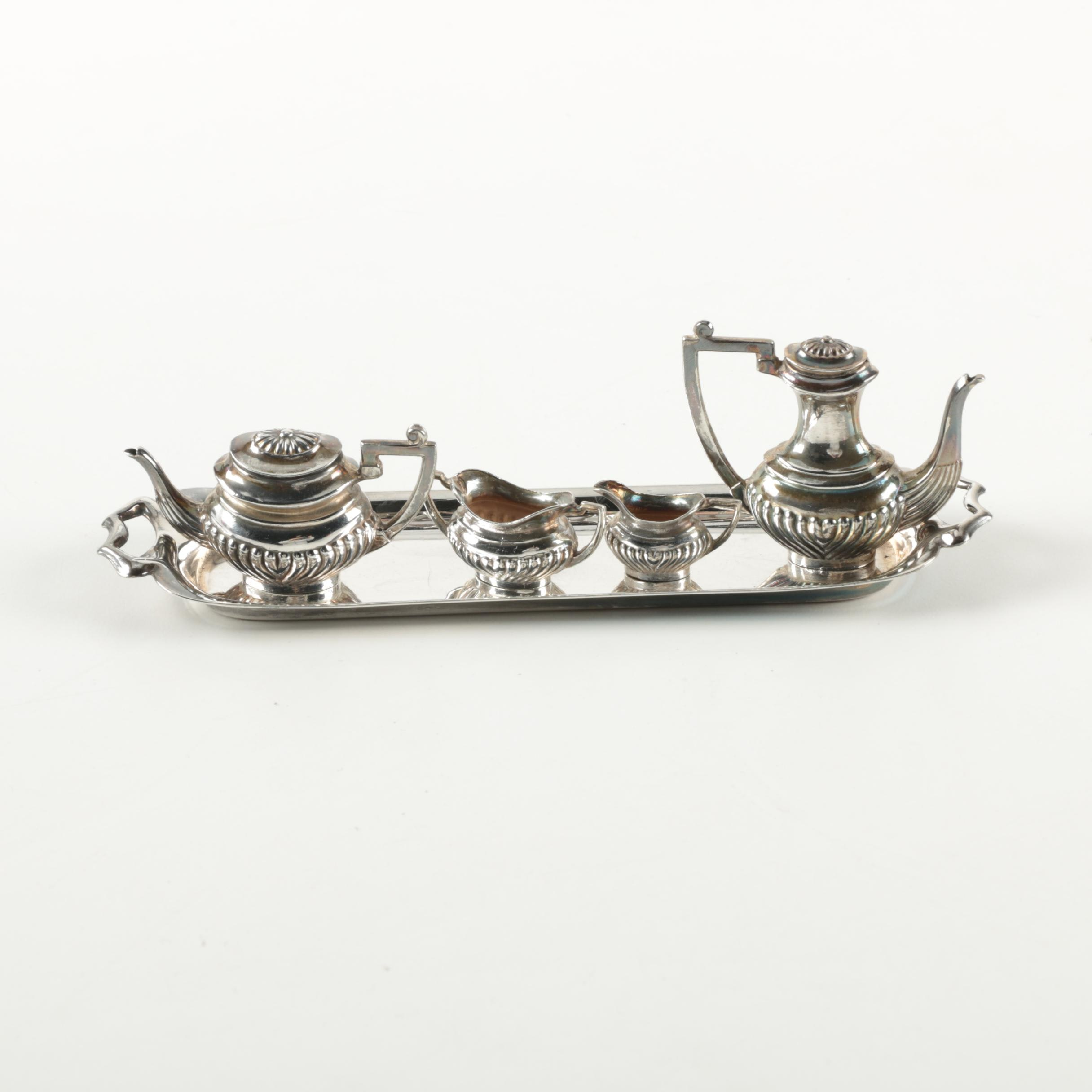 1968 A. Marston & Co. British Miniature Sterling Silver Coffee and Tea Service