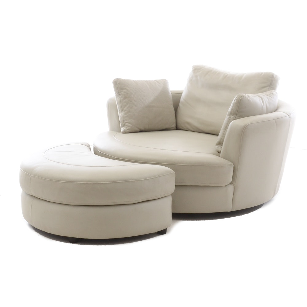White Leather Turntable Armchair with Ottoman