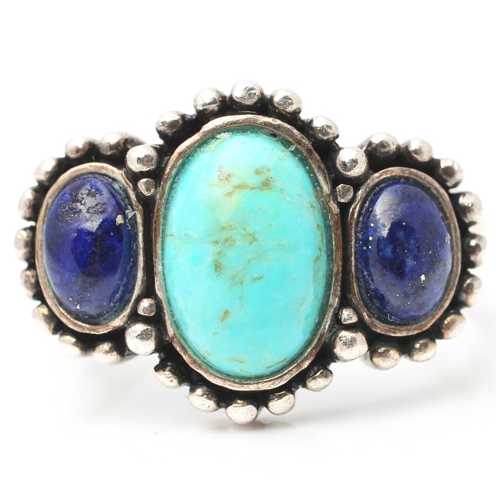 Sterling Silver Turquoise and Lapis Lazuli Ring