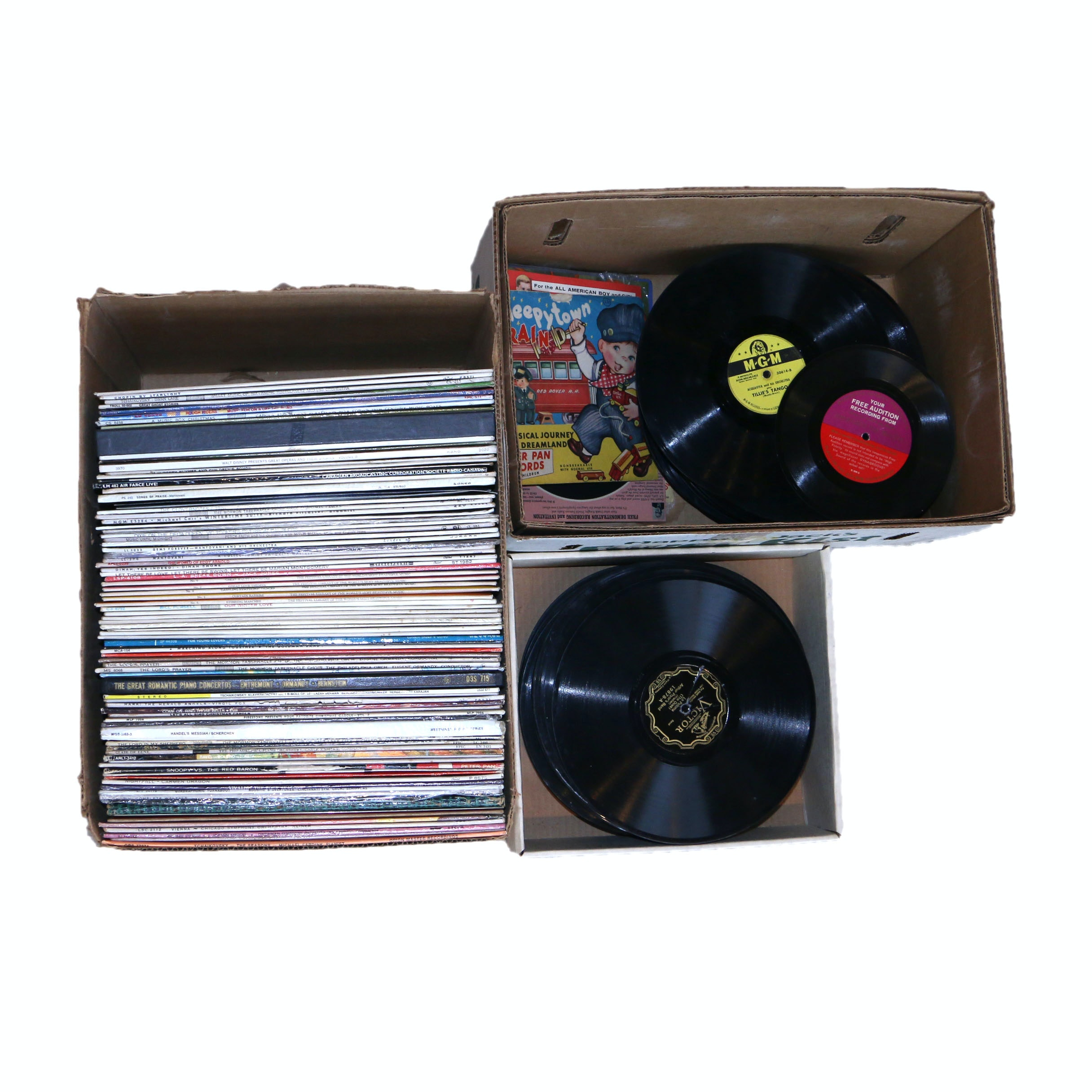 "Large Assortment of Vintage Vinyl Including 12"" and 78's"