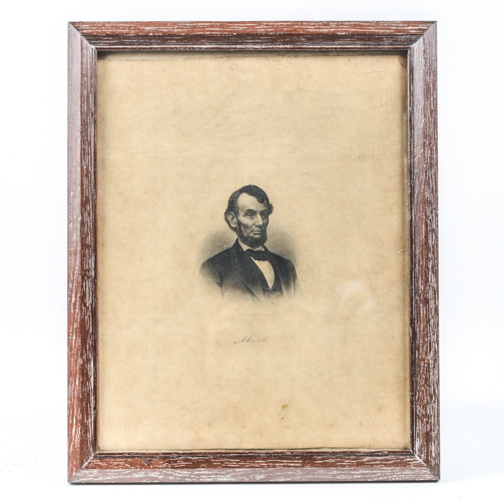 Antique Engraving of Abraham Lincoln