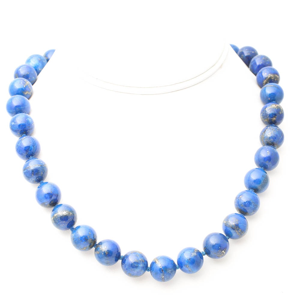 Sterling Silver Lapis Lazuli Bead Necklace