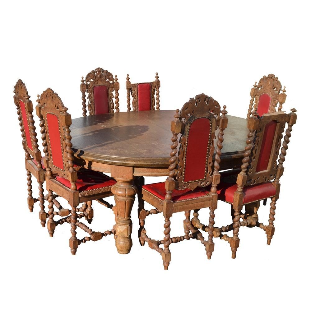 Carved Oak Dining Set