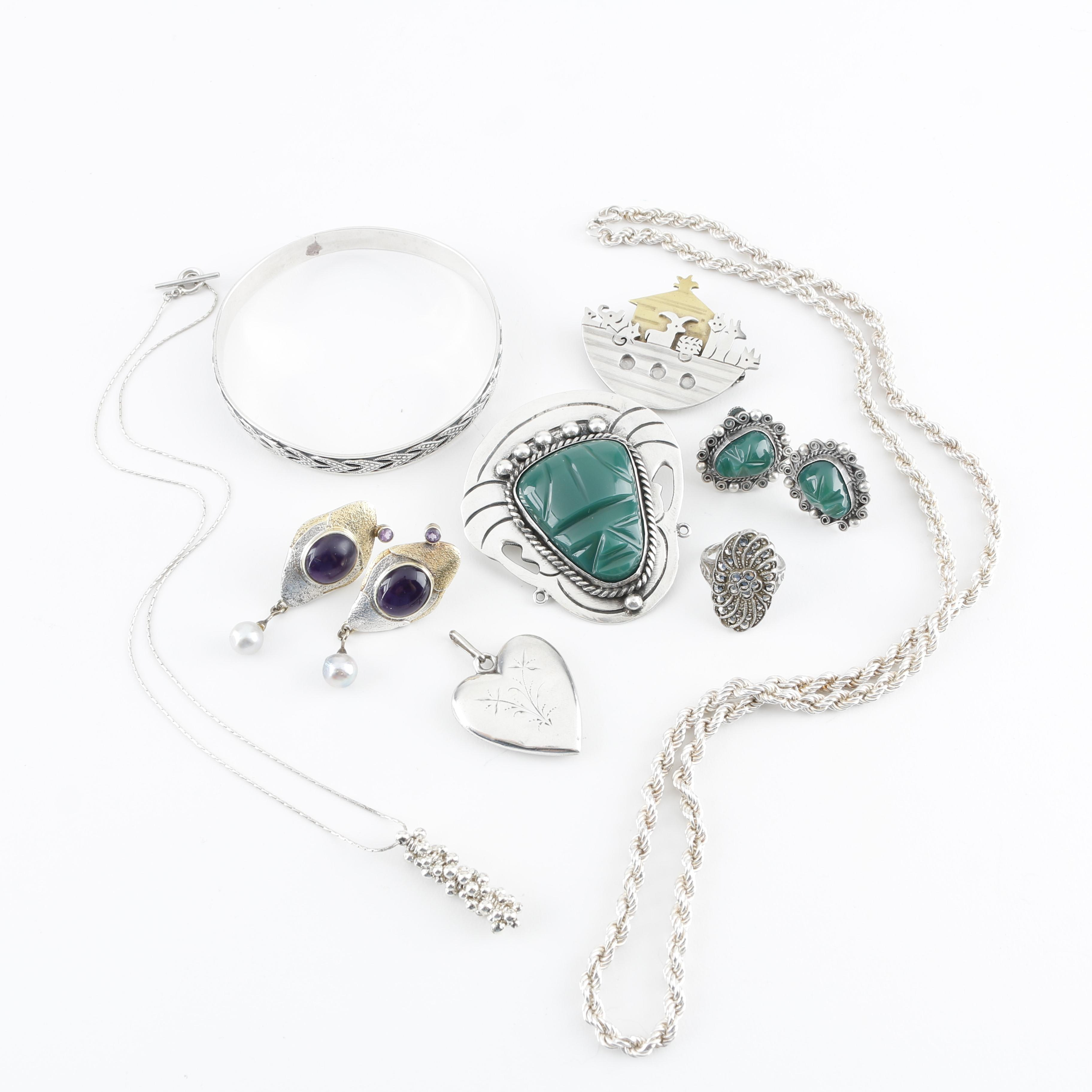 Sterling Silver Jewelry Assortment Including Taxco