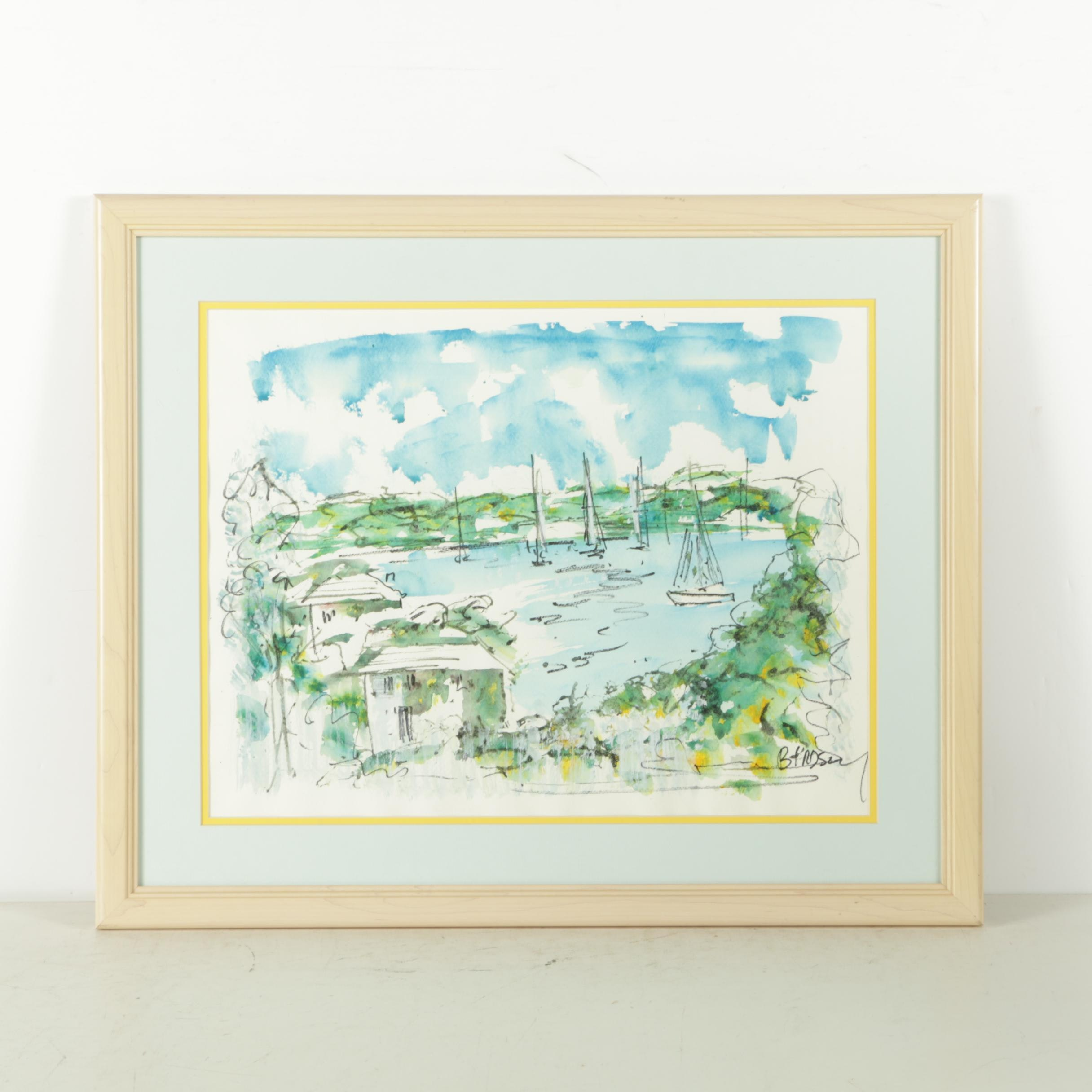 Watercolor on Paper of Sailboats