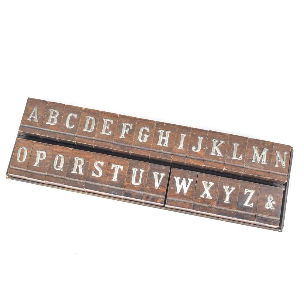 Complete Printer's Block Alphabet Set