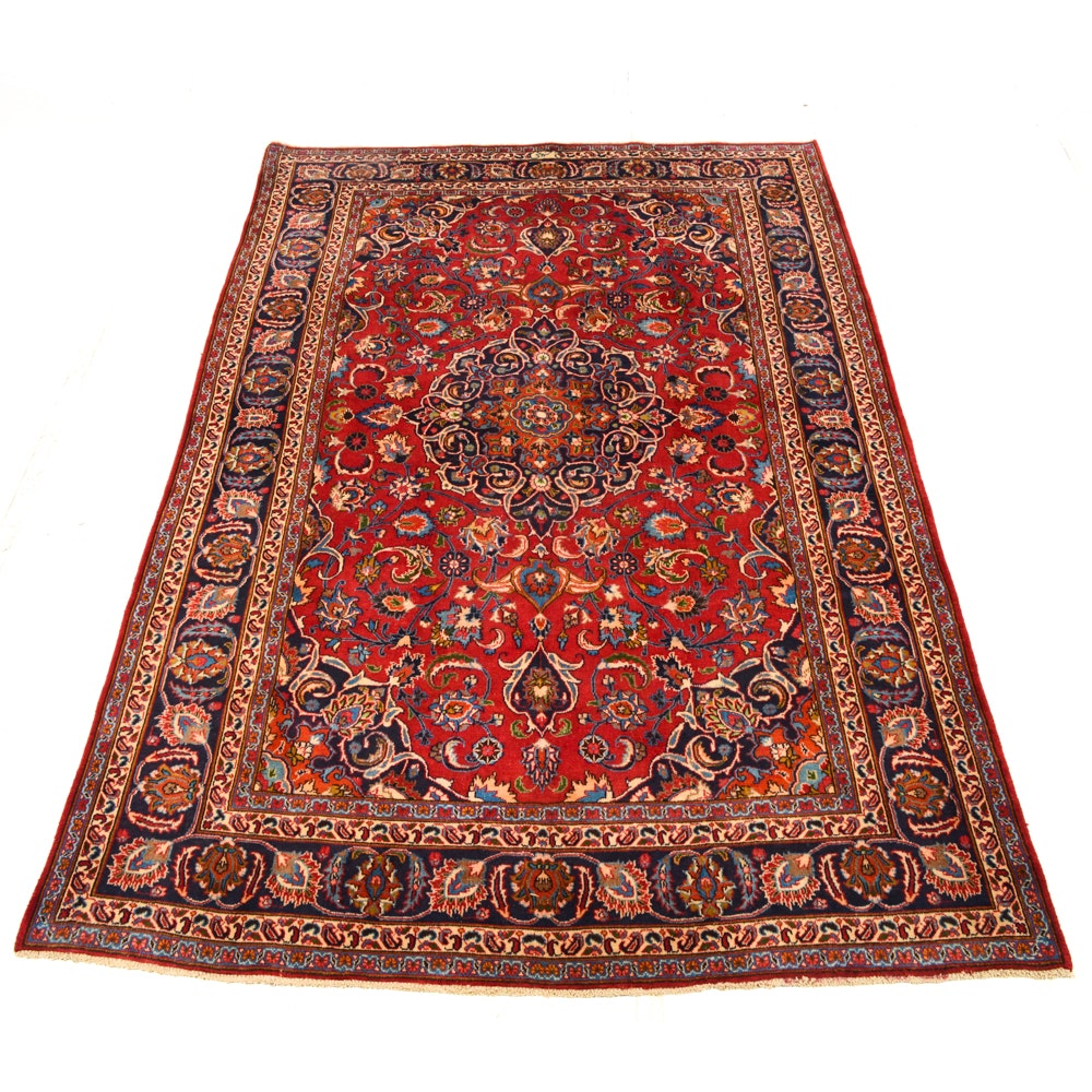 Hand-Knotted Persian Mashhad Area Rug