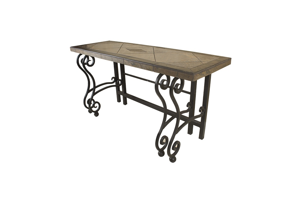 Tile Top and Metal Console Table