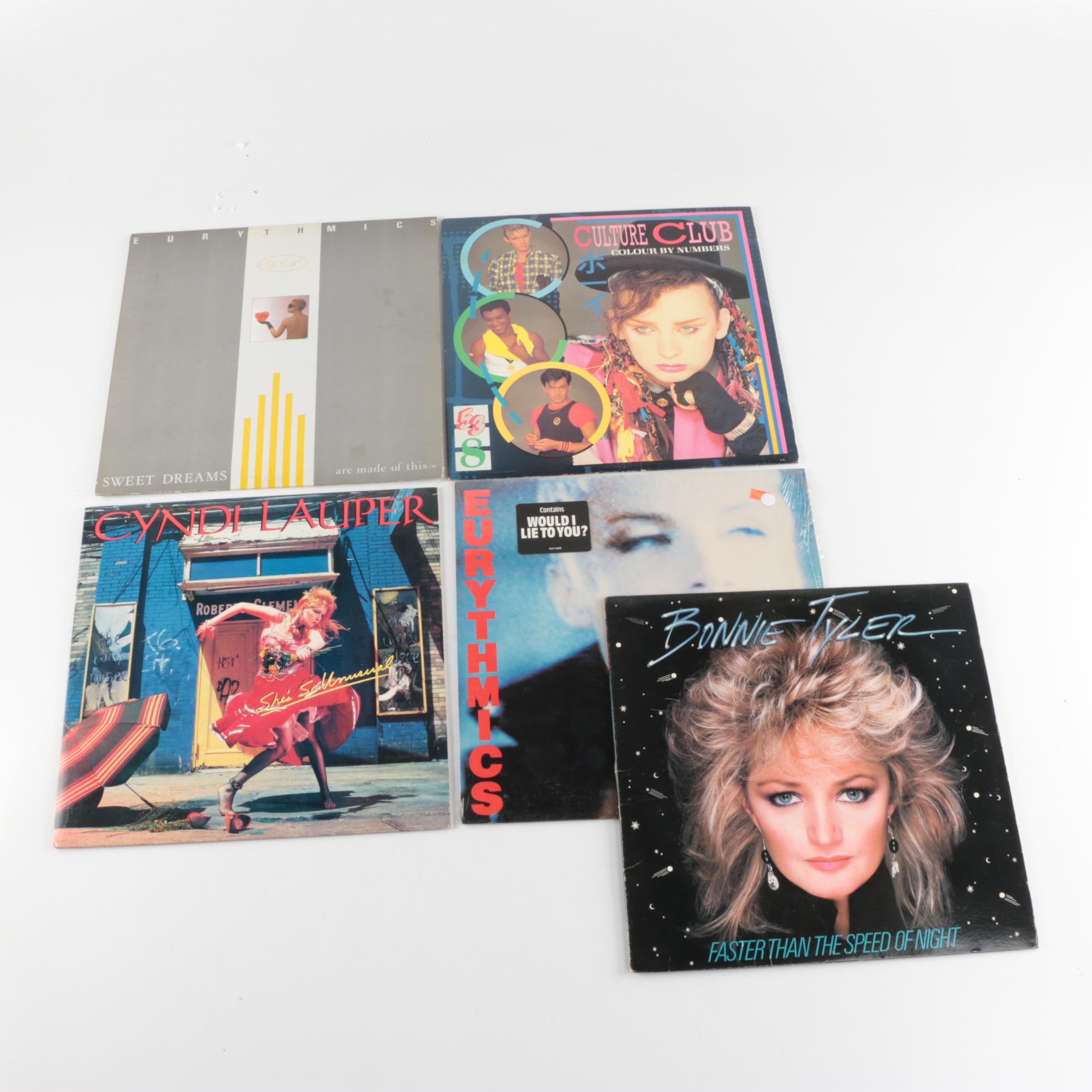Five 1980s Records including Eurythmics and Cyndi Lauper