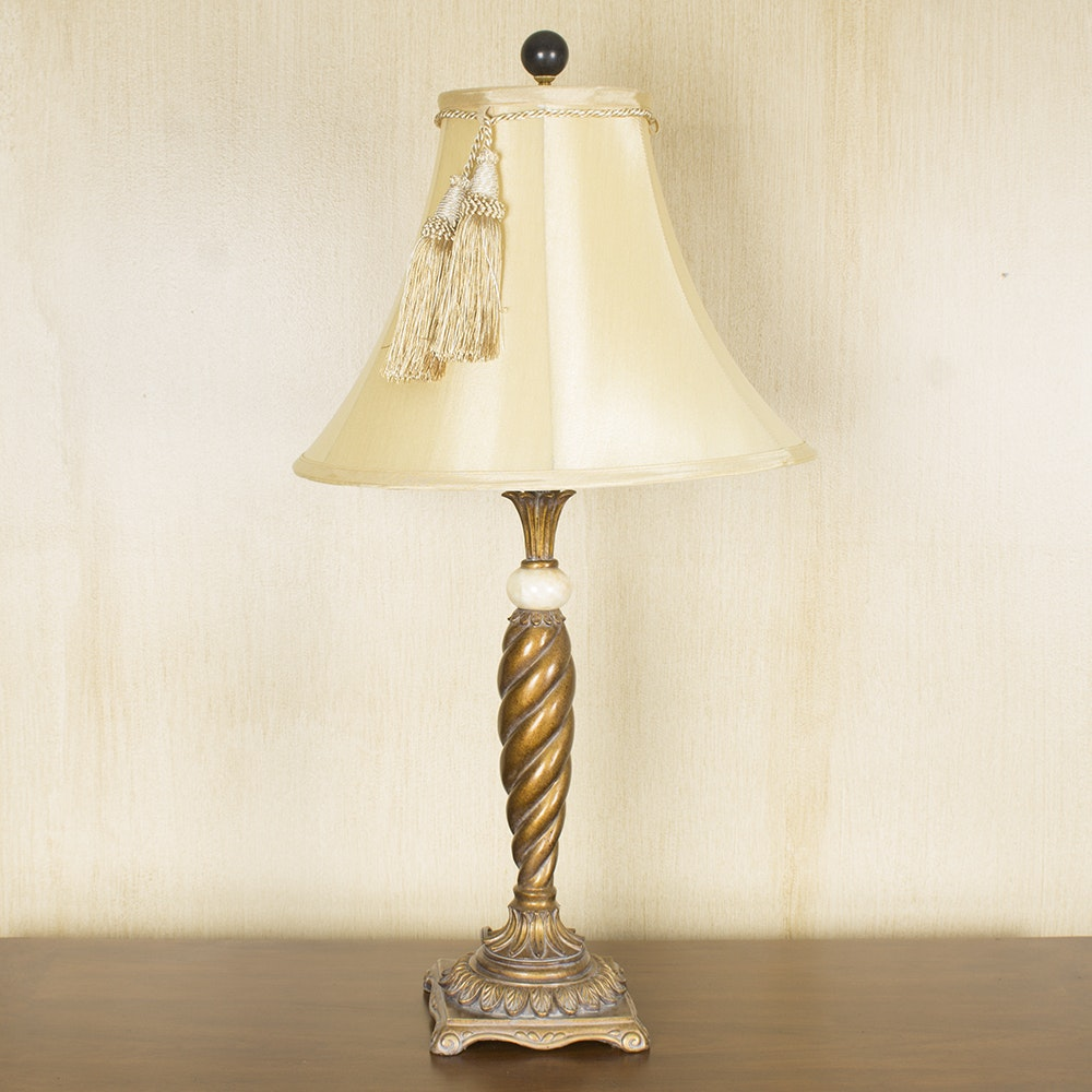 Spiral Wood Table Lamp