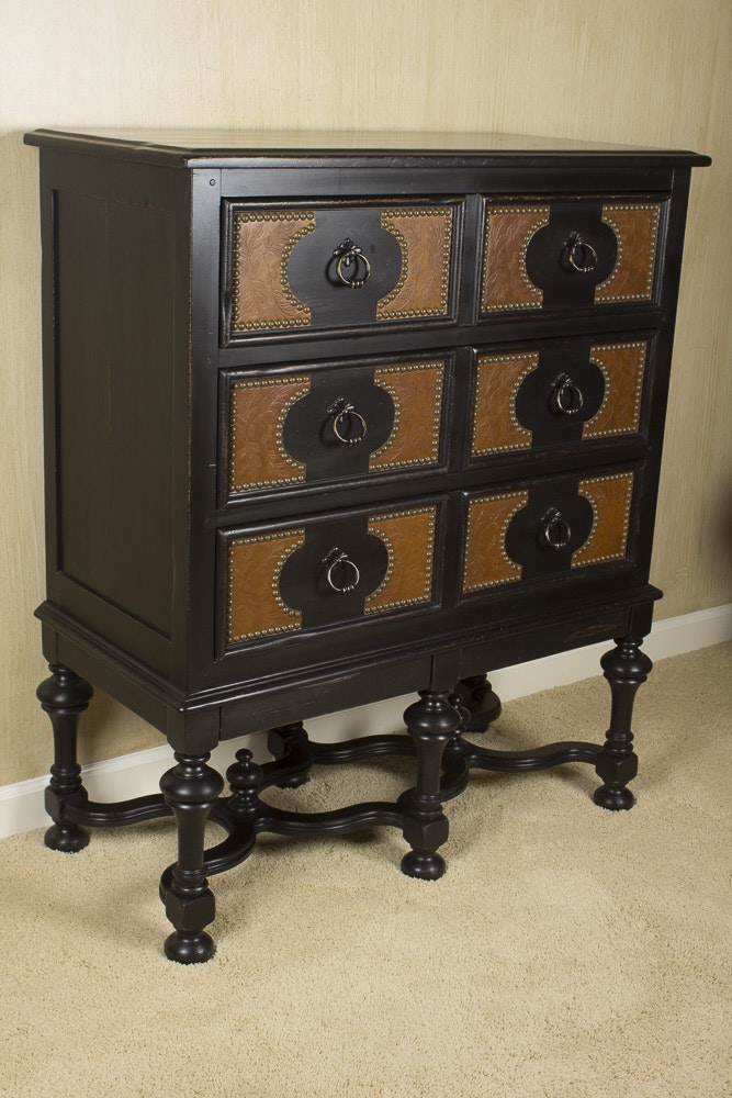 Baroque Style Ebonized Chest On Stand By Drexel