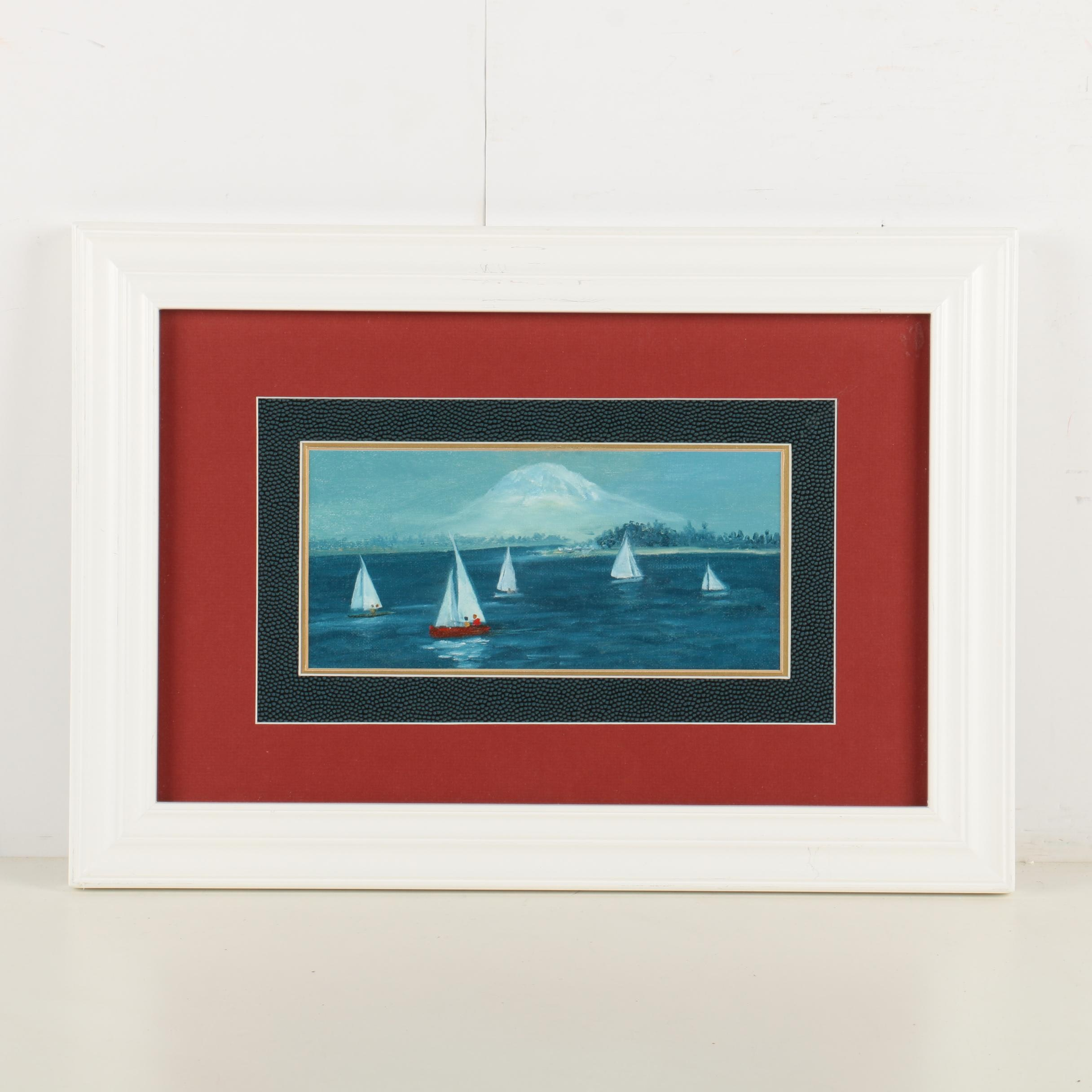 Acrylic Painting on Canvas Board of Sailboats