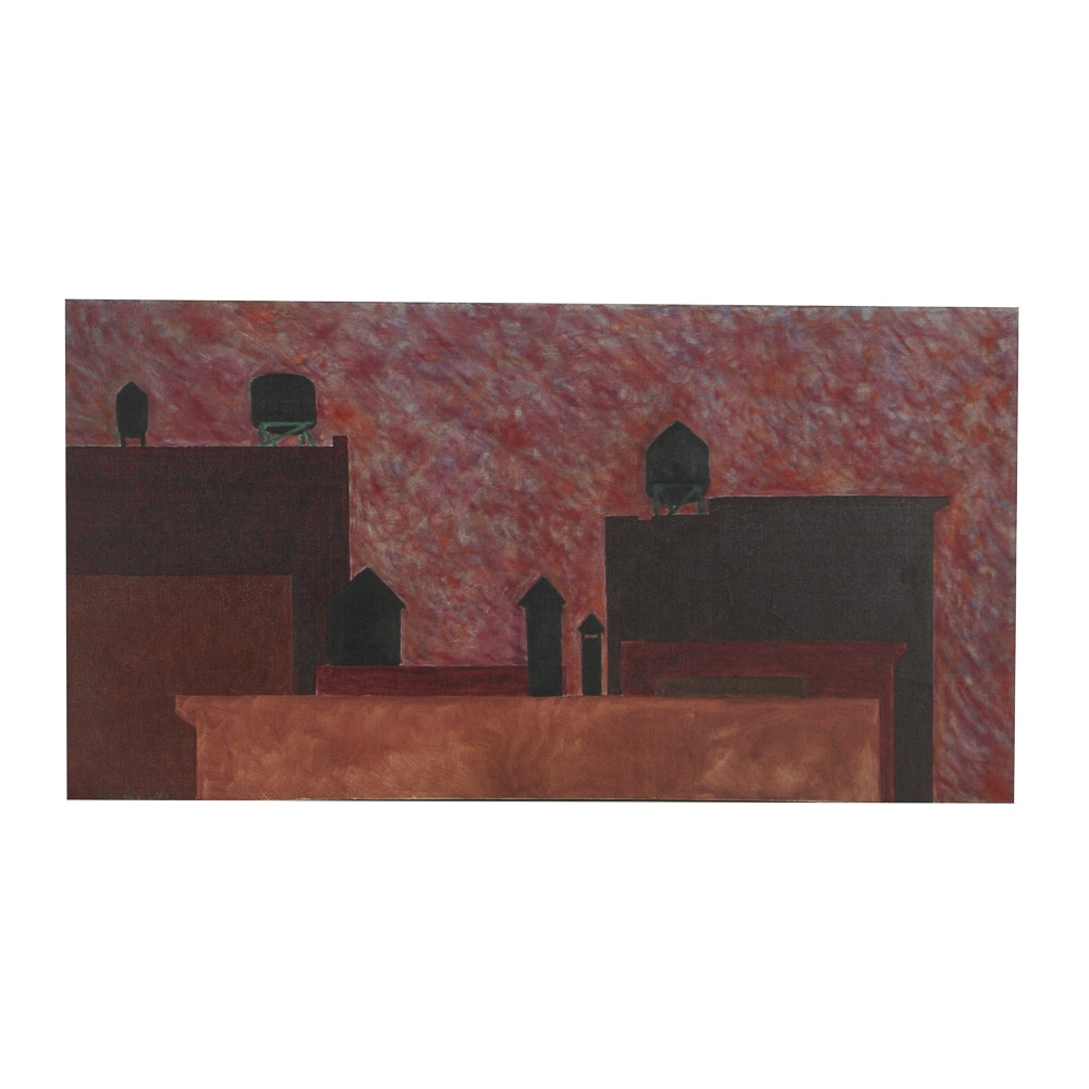 "Robert Herrmann Oil Painting on Canvas ""NY Skyline"""