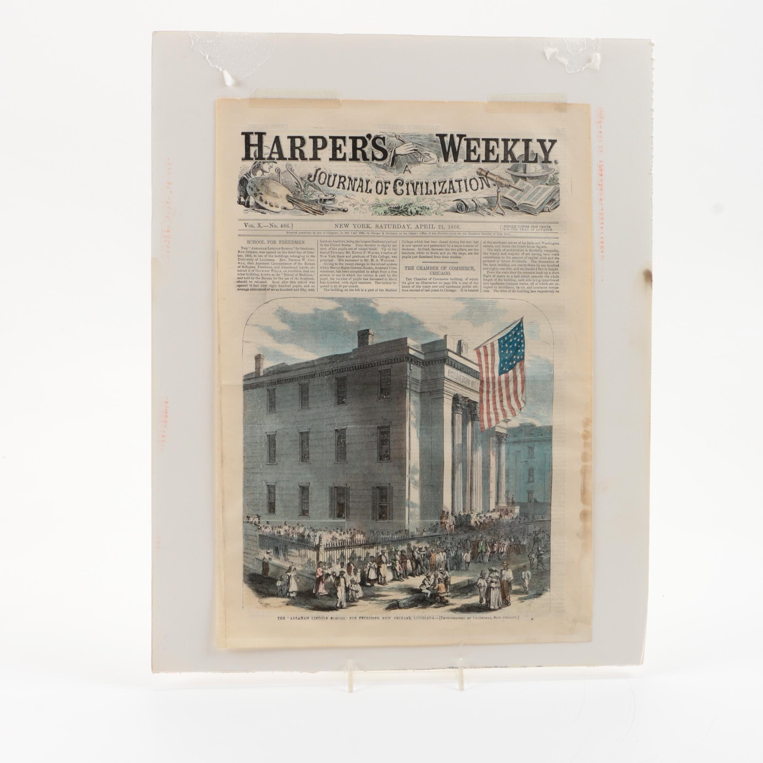 Hand-Colored Lithograph Page From Harper's Weekly of Abraham Lincoln School