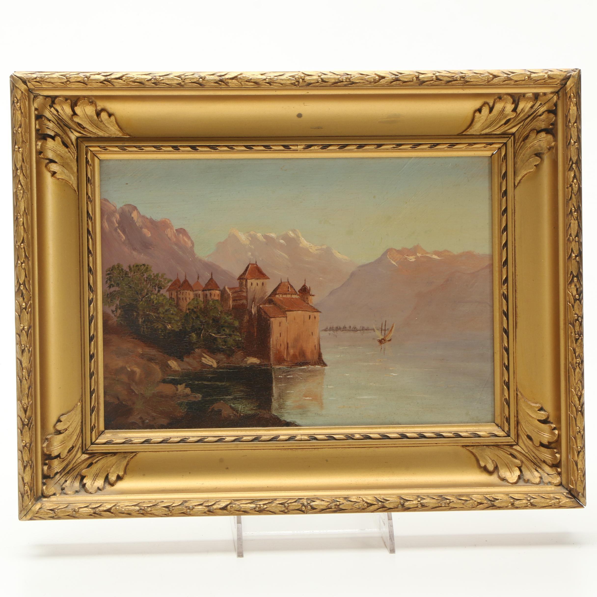 Oil Painting on Board of Coastal Castle