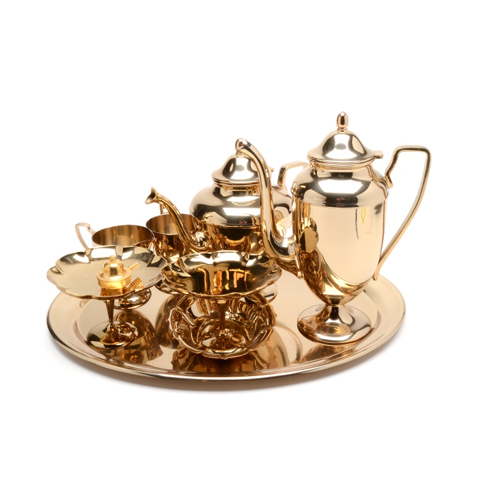 """Dirilyte """"Regal"""" Pattern Goldware Coffee and Tea Service"""