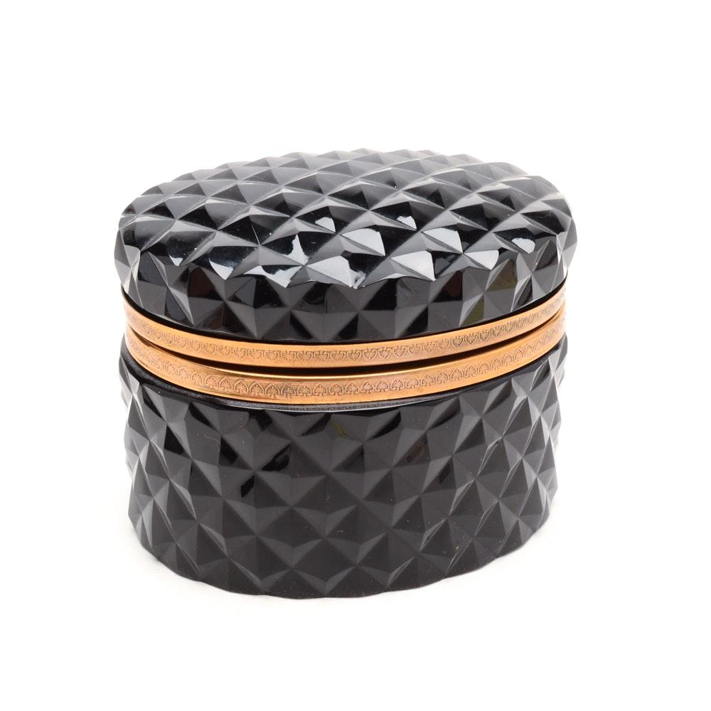 Oval Black Glass Trinket Box