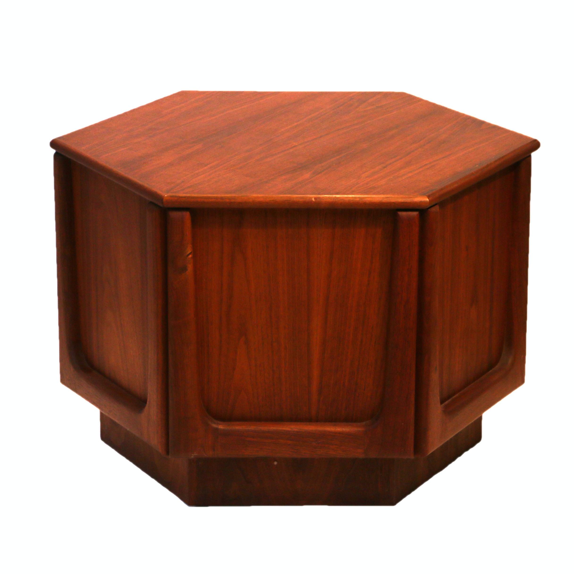 Mid Century Modern Walnut Hexagonal Drum End Table