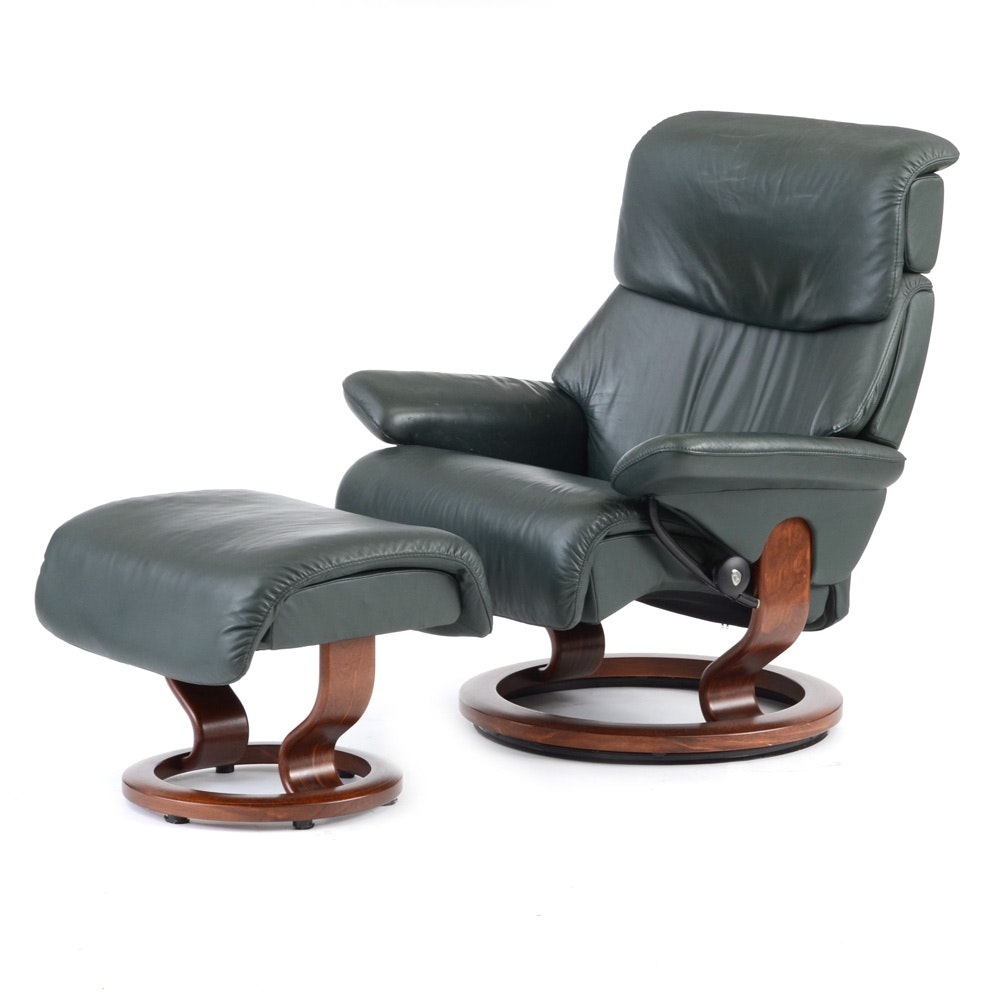 "Green Leather ""Stressless"" Adjustable Chair and Ottoman by Ekornes / Norway"