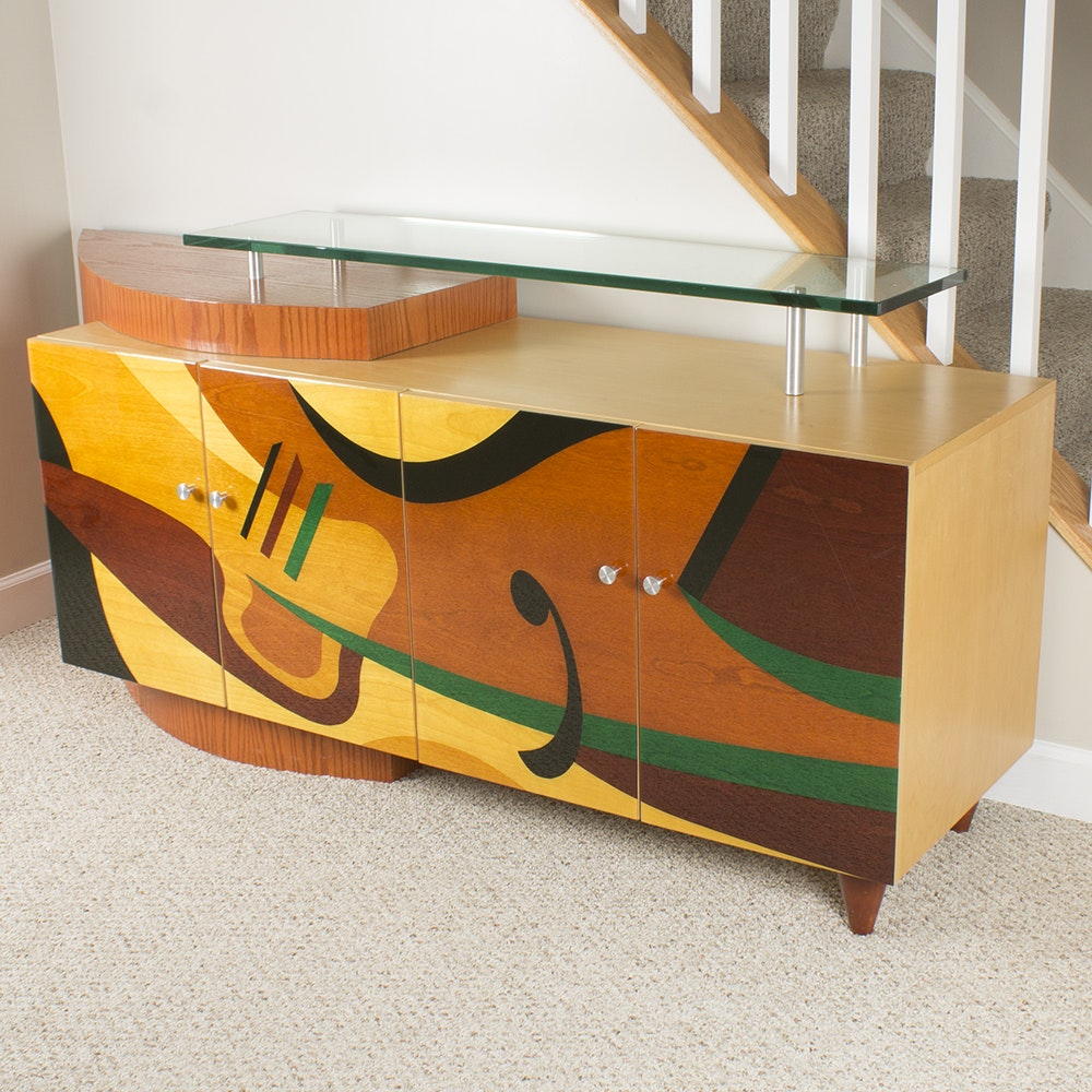 Abstract Modernist Bar Cabinet