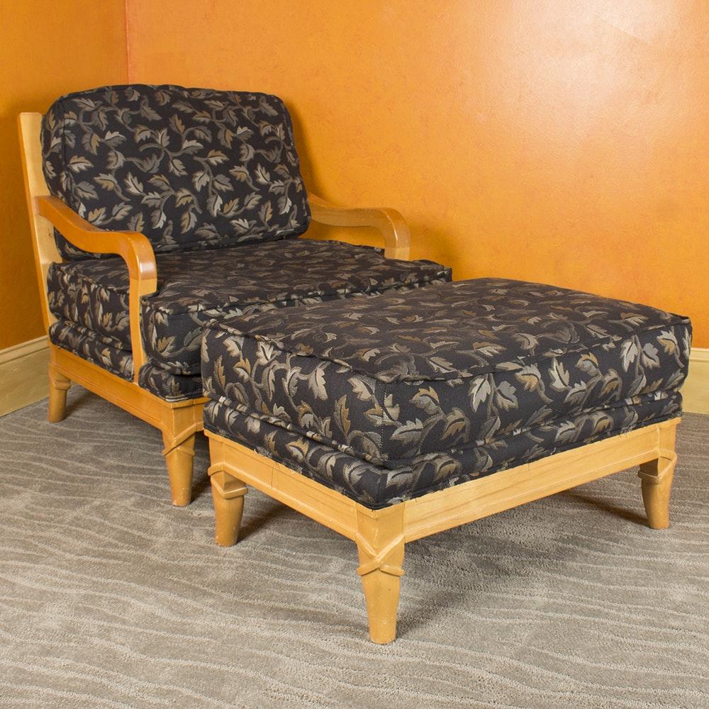 Slat Back Armchair and Ottoman