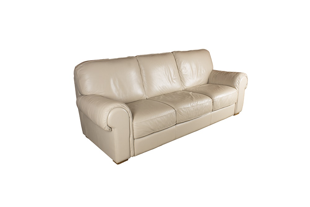 Cream Hue Leather Sofa