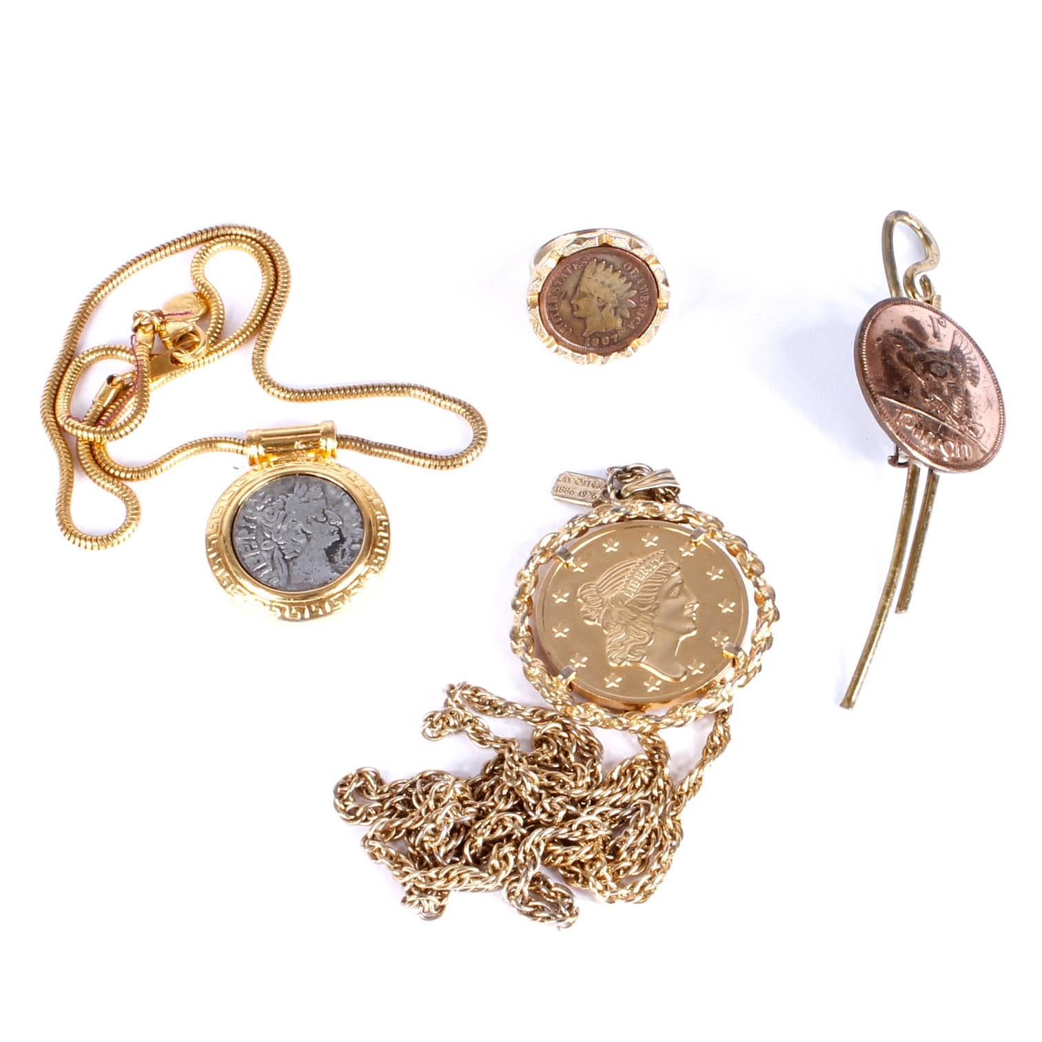 Variety of Gold Tone Costume Jewelry with Coins