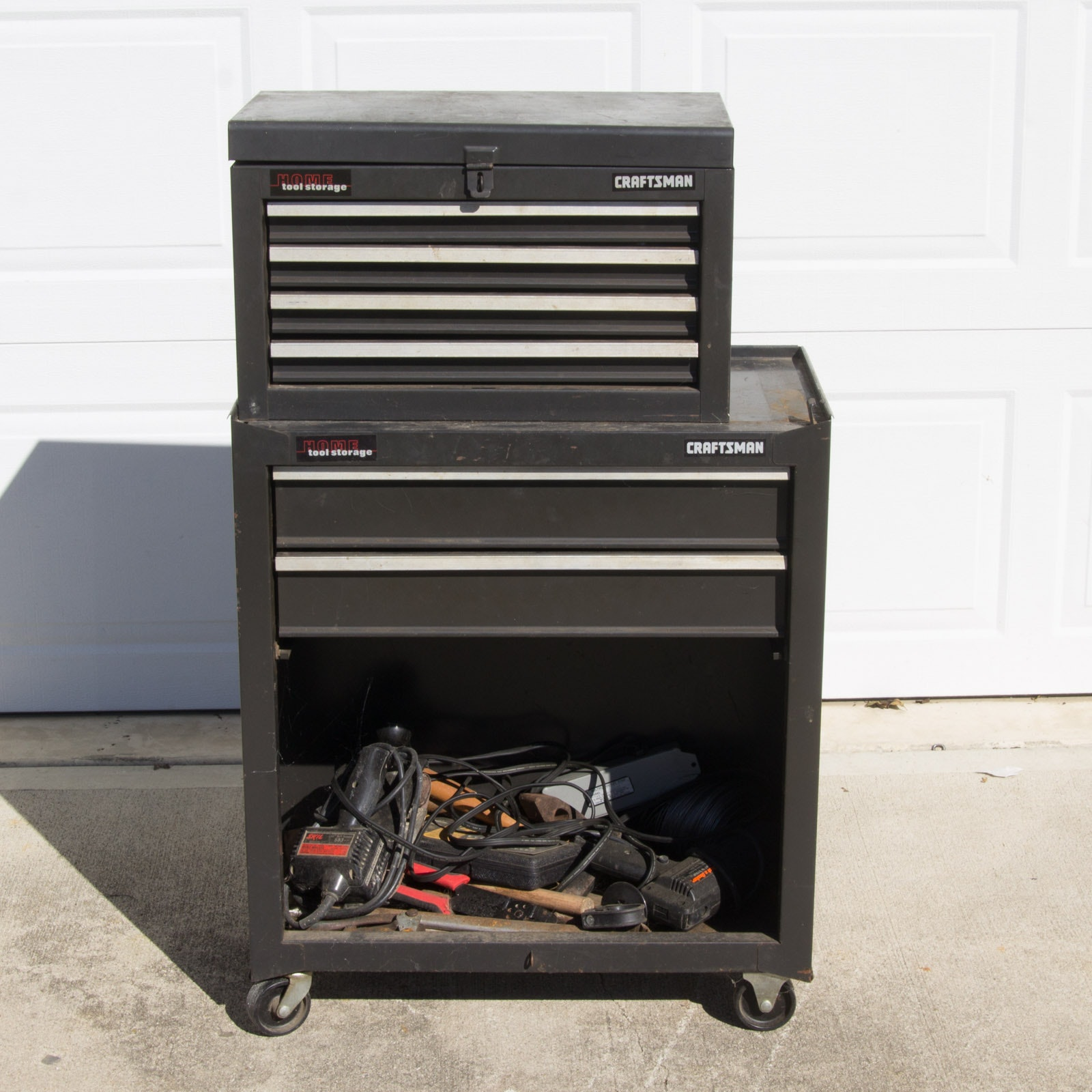Assortment of Tools and a Craftsman Home Tool Storage