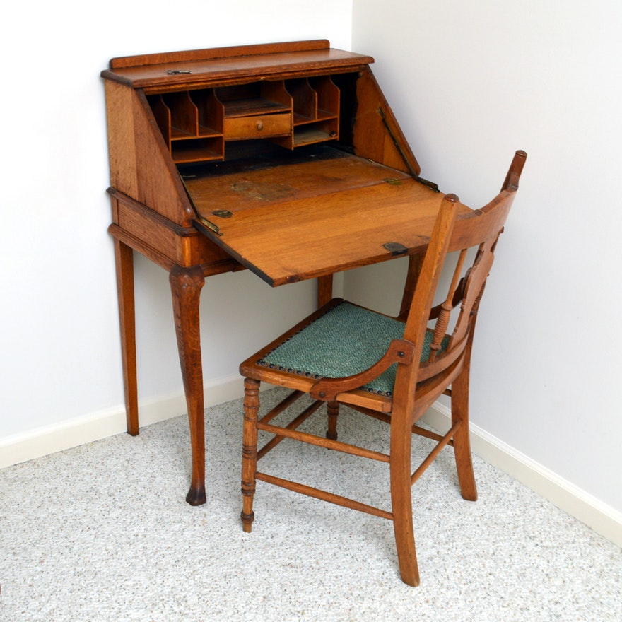 - Vintage Oak Victorian Style Secretary Desk And Eastlake Style Chair
