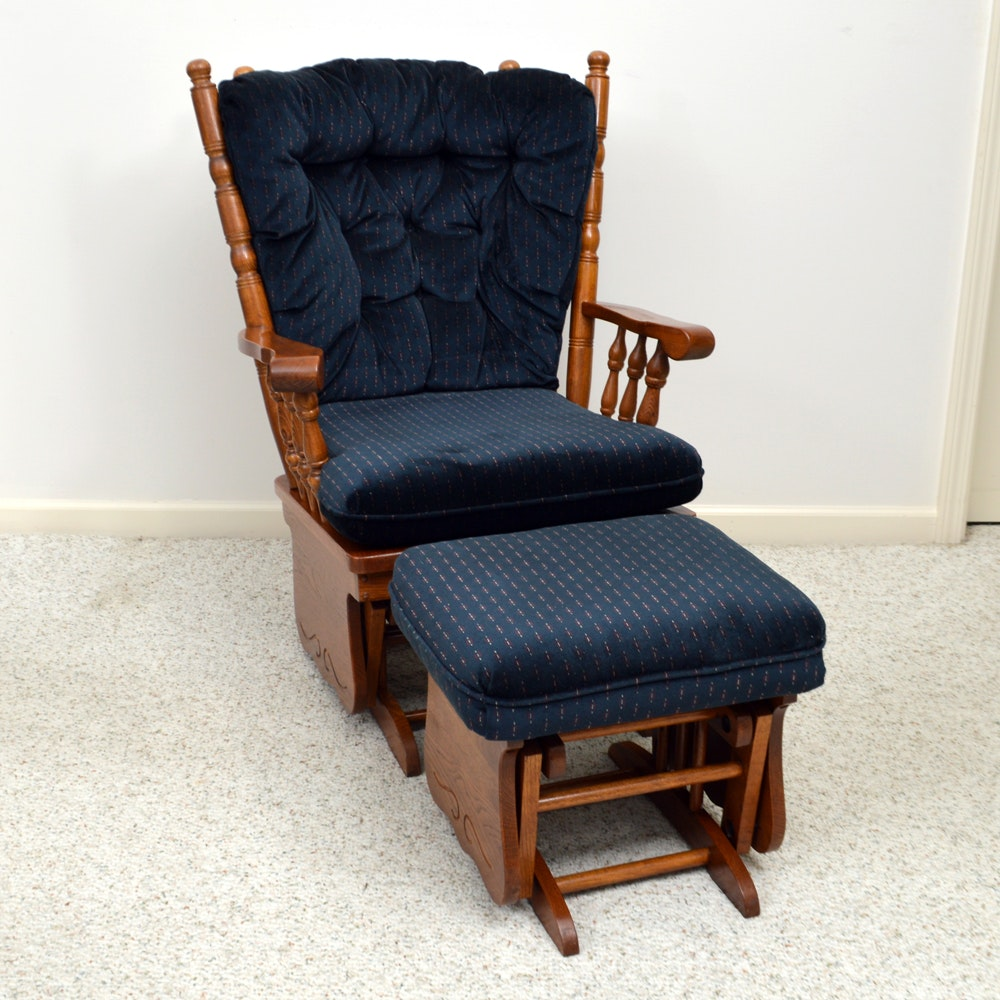 Beau Oak Glider Rocker And Ottoman By Best Chairs, Inc. ...