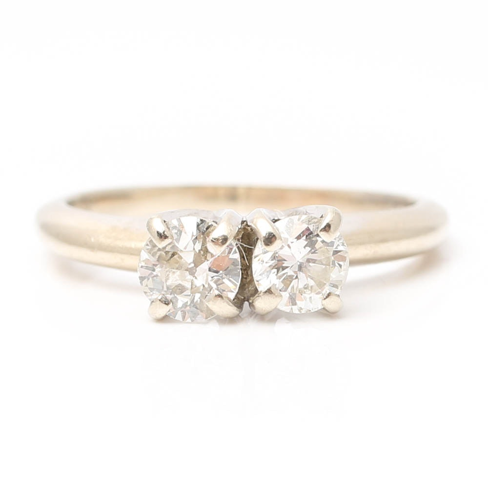 14K White Gold Two-Stone Diamond Ring