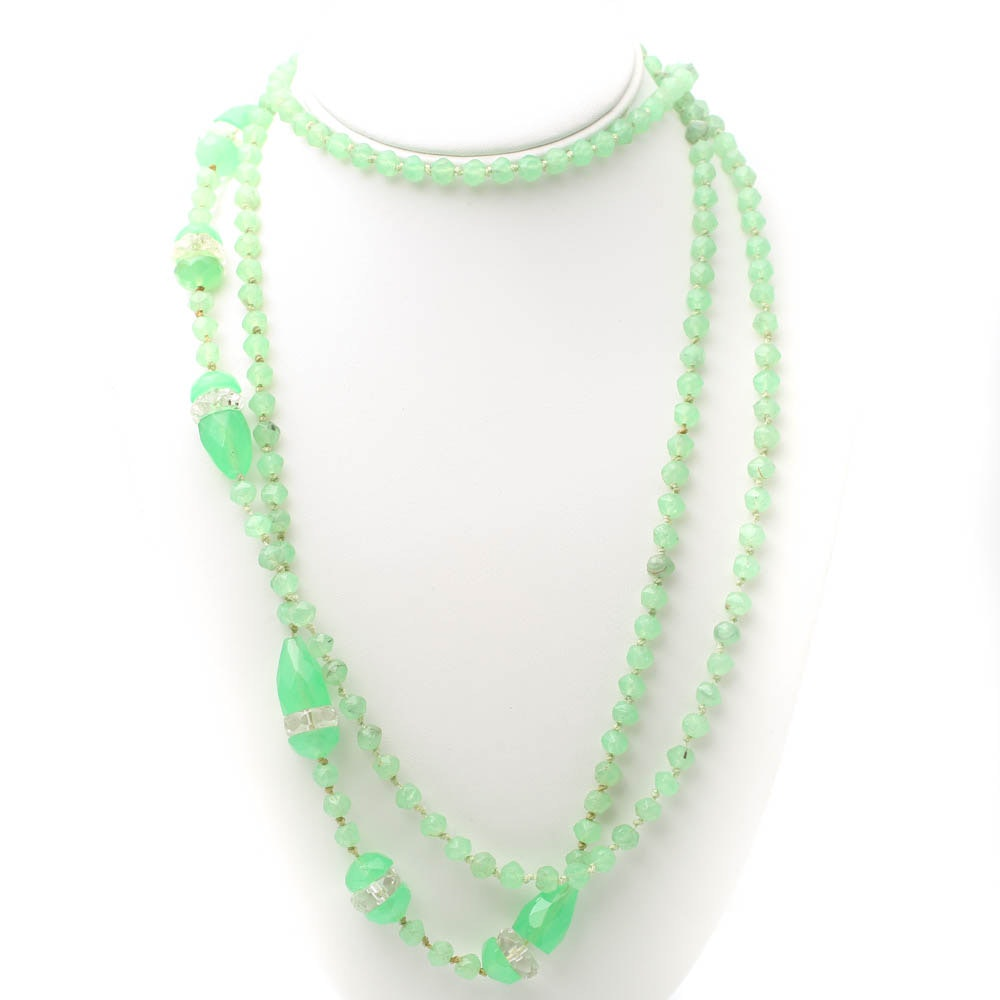 Green and Colorless Endless Glass Bead Necklace