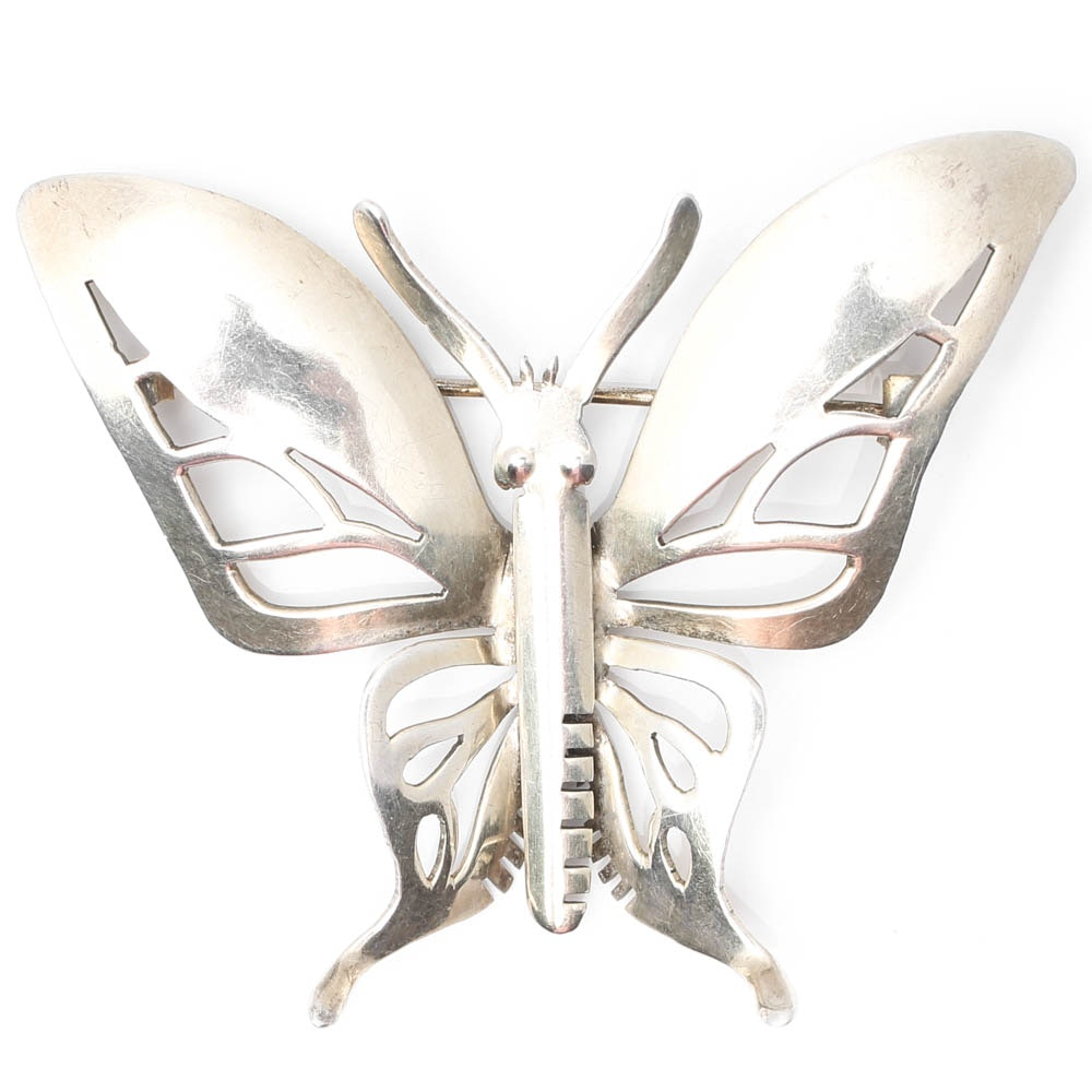 Sterling Silver Large Butterfly Brooch