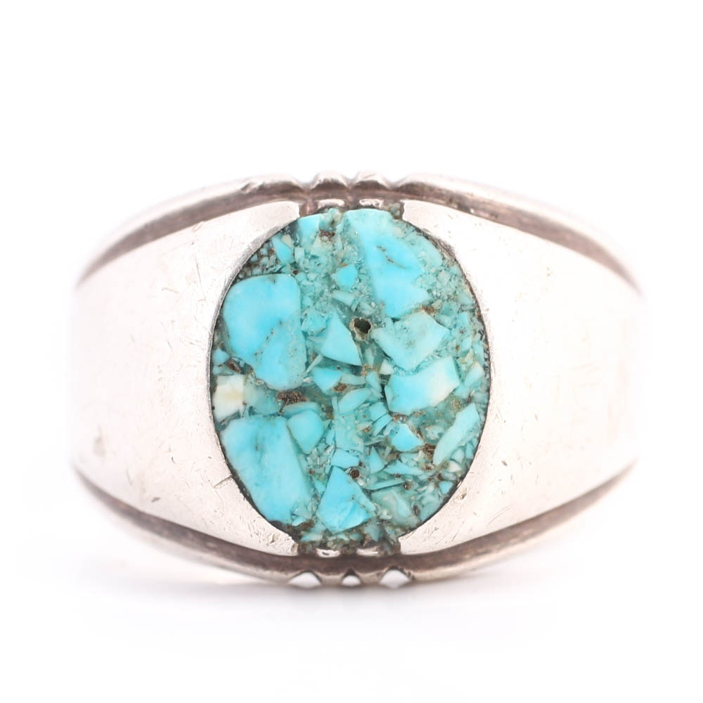 Sterling Silver Inlay Turquoise Chip Ring