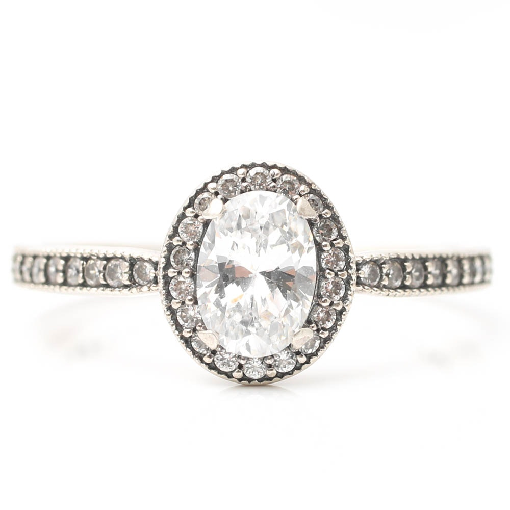 Pandora Sterling Silver Oval Cubic Zirconia Halo Ring