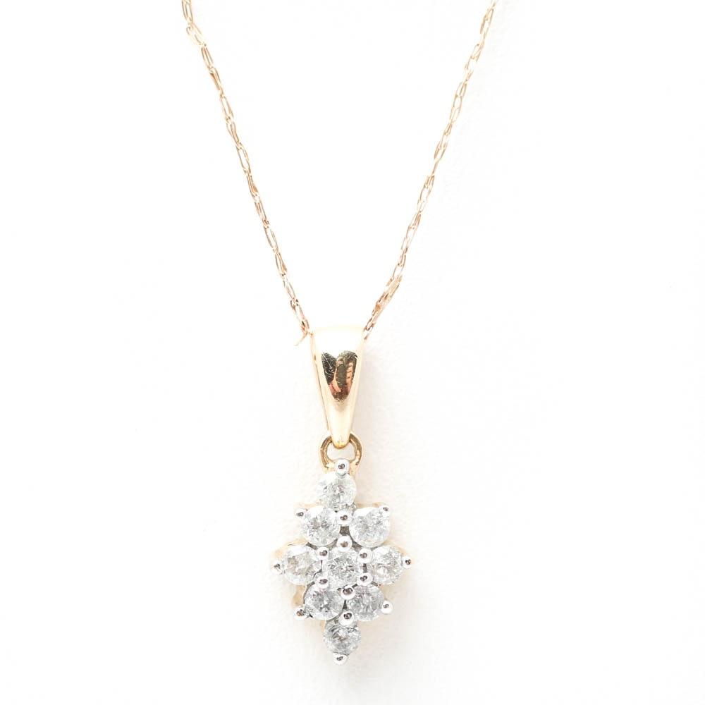 14K Yellow Gold Diamond Cluster Pendant