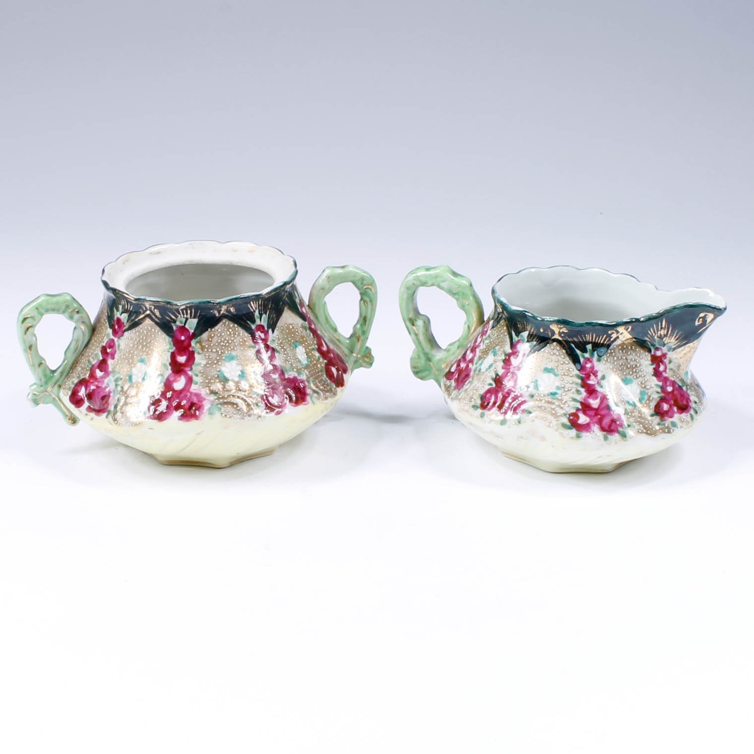 Vintage Hand-Painted Asian Creamer Pitcher and Sugar Bowl