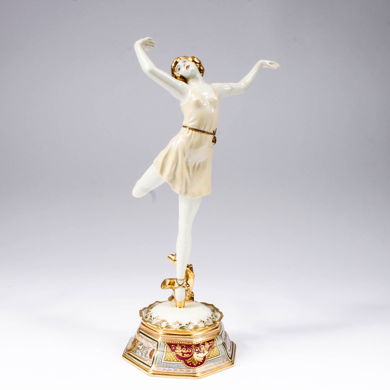 Early 20th-Century Hand-Painted Dresden Porcelain Ballet Dancer Figurine