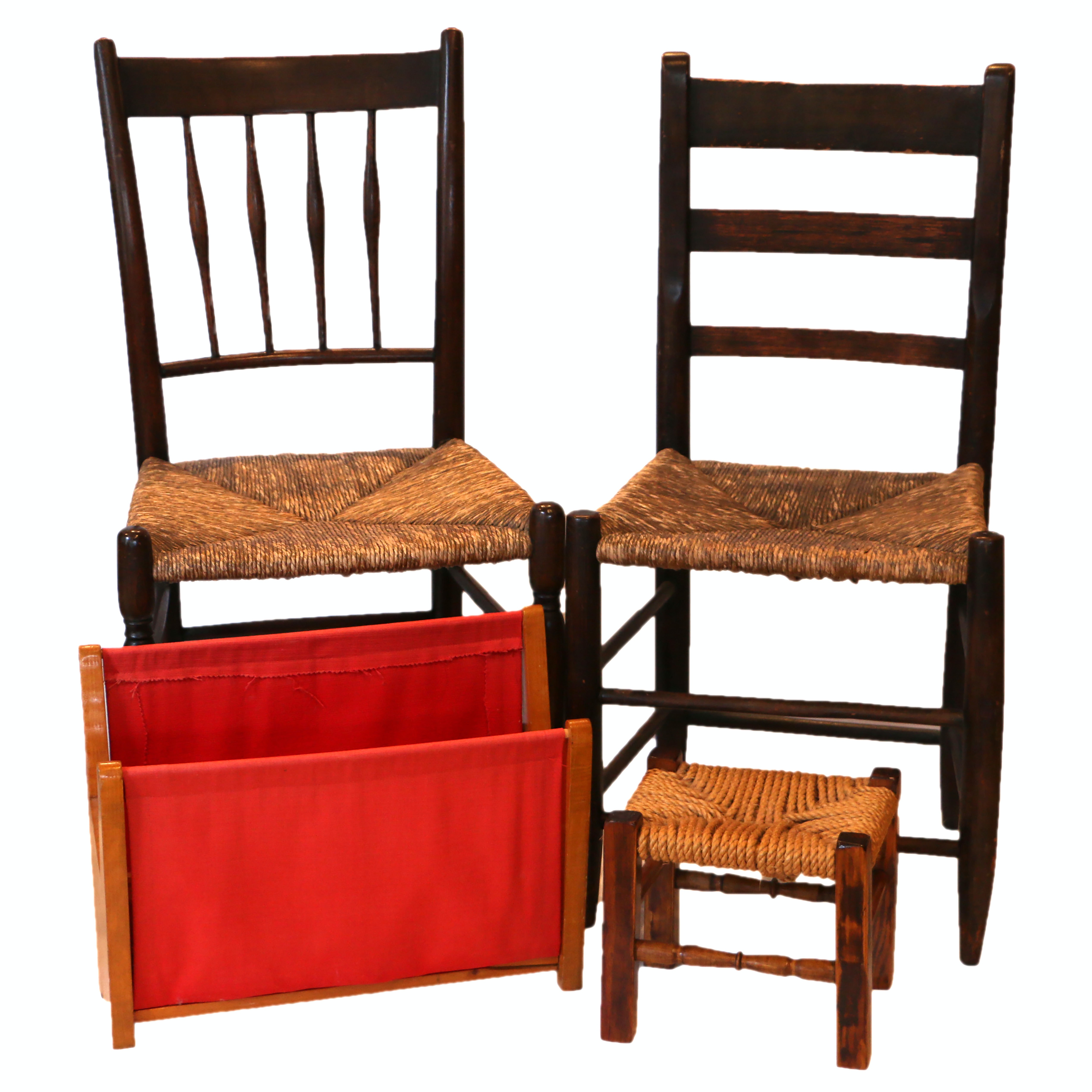 Rush Woven and Wooden Chairs , Footstool, Magazine Rack