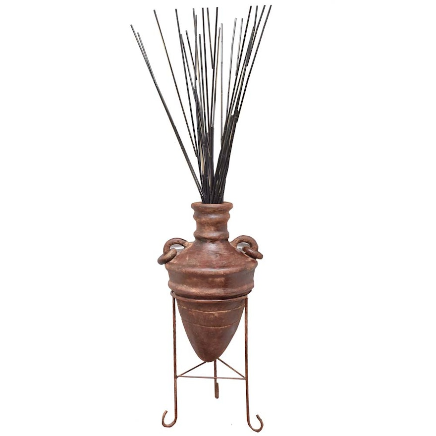 Decorative Vase On Stand With Branches Ebth