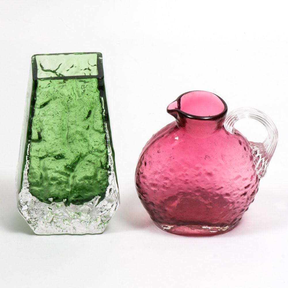 Pink and Green Pressed Glass
