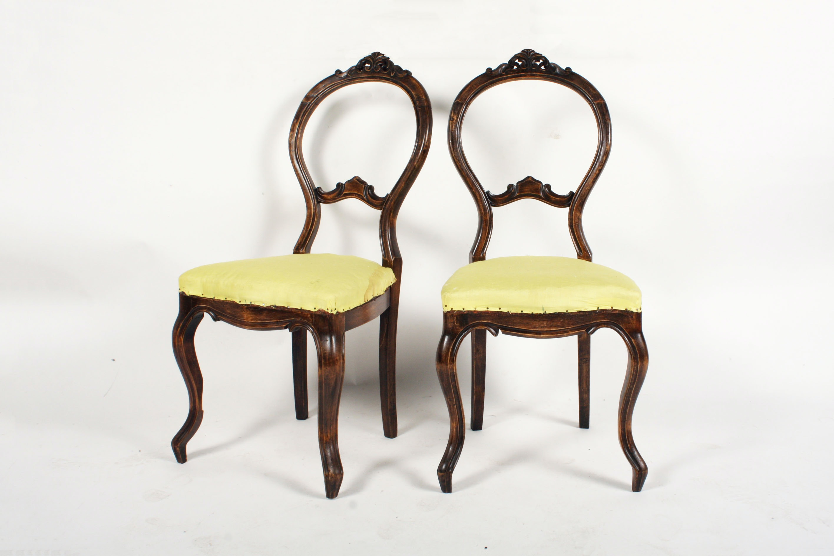 Pair of Victorian Style Beech Side Chairs