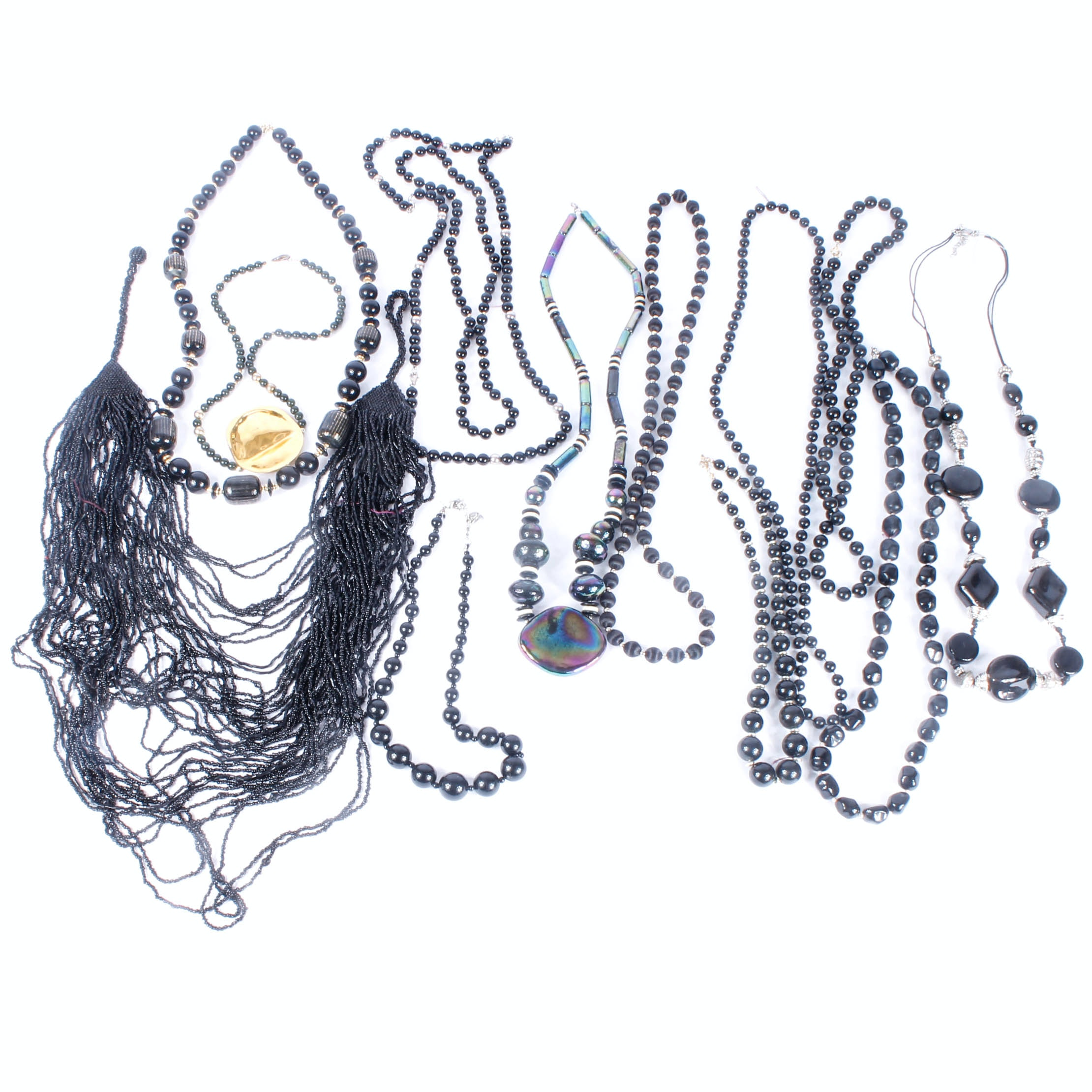 Variety of Black Beaded Necklaces